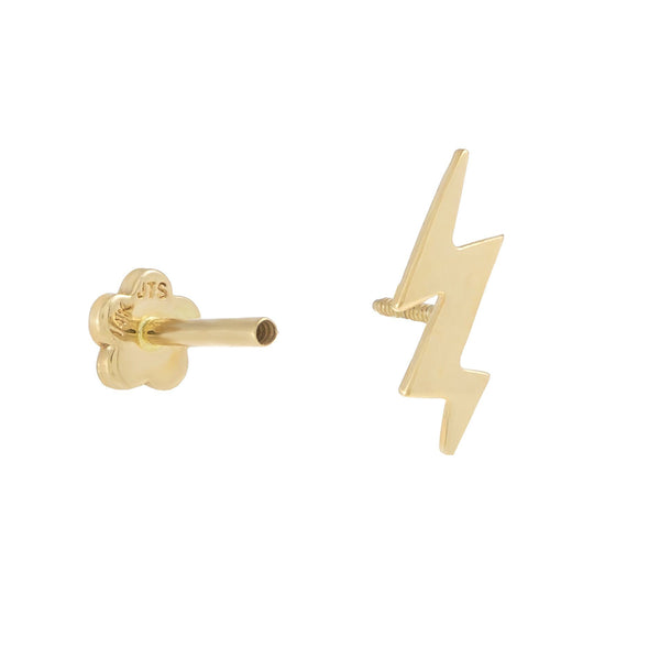 Lightning Threaded Stud Earring 14K