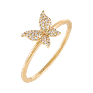 Diamond Mini Butterfly Ring 14K 14K Gold / 6.5 - Adina's Jewels