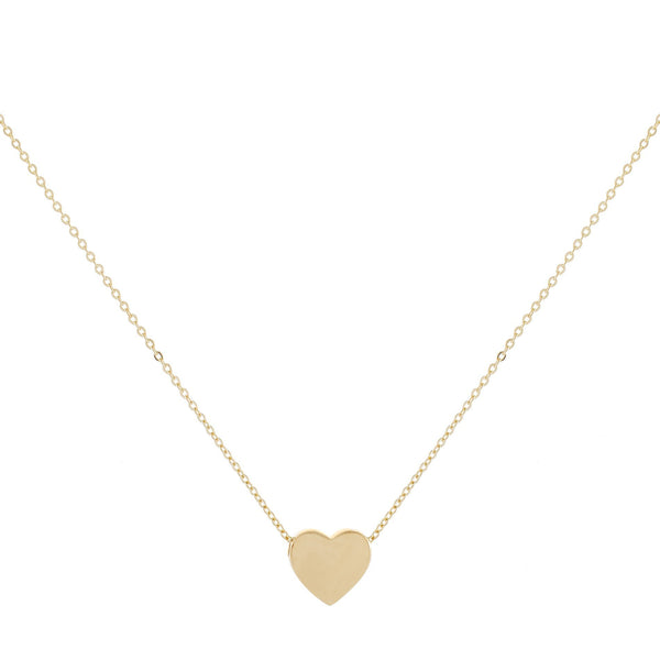 Solid Heart Necklace 14K