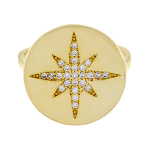 Pavé Starburst Stamp Ring  - Adina's Jewels