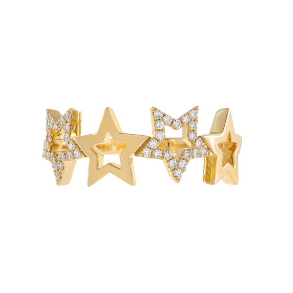 Diamond X Solid Open Star Ring 14K - Adina's Jewels
