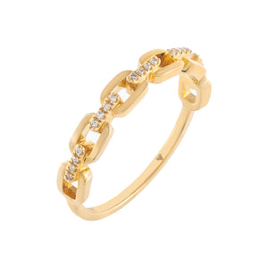 Diamond Box Link Ring 14K 14K Gold / 6.5 - Adina's Jewels
