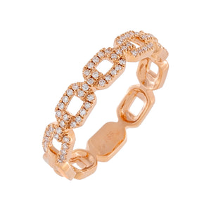 Diamond X Solid Box Link Ring 14K 14K Rose Gold / 7 - Adina's Jewels