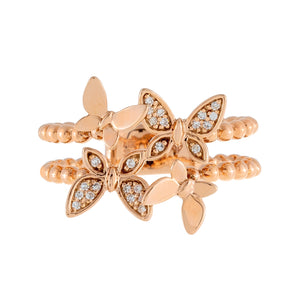 Diamond Butterfly Beaded Ring 14K  - Adina's Jewels