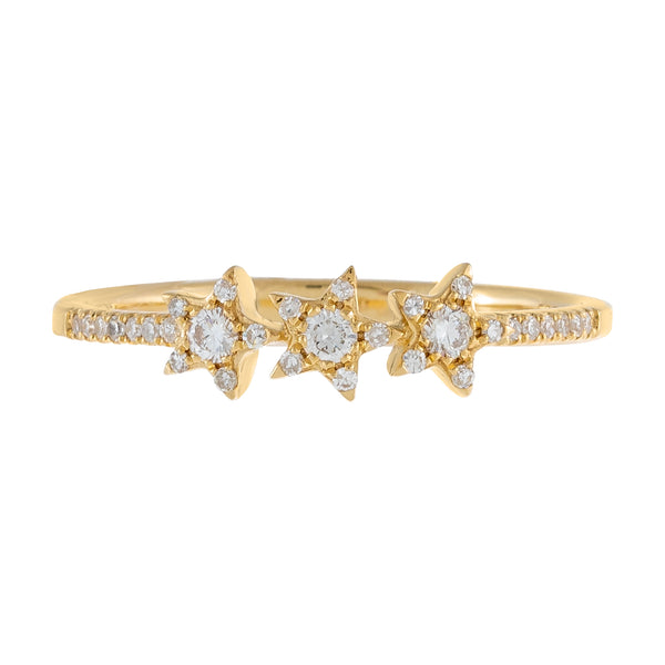 Diamond Triple Star Ring 14K - Adina's Jewels