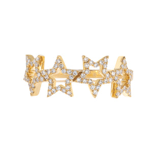 Diamond Open Star Ring 14K  - Adina's Jewels