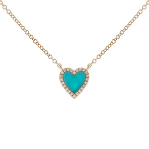 Turquoise Diamond Mini Turquoise Heart Necklace 14K - Adina's Jewels