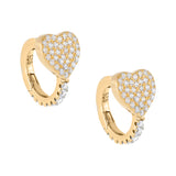 Gold Pavé Heart Huggie Earring - Adina's Jewels