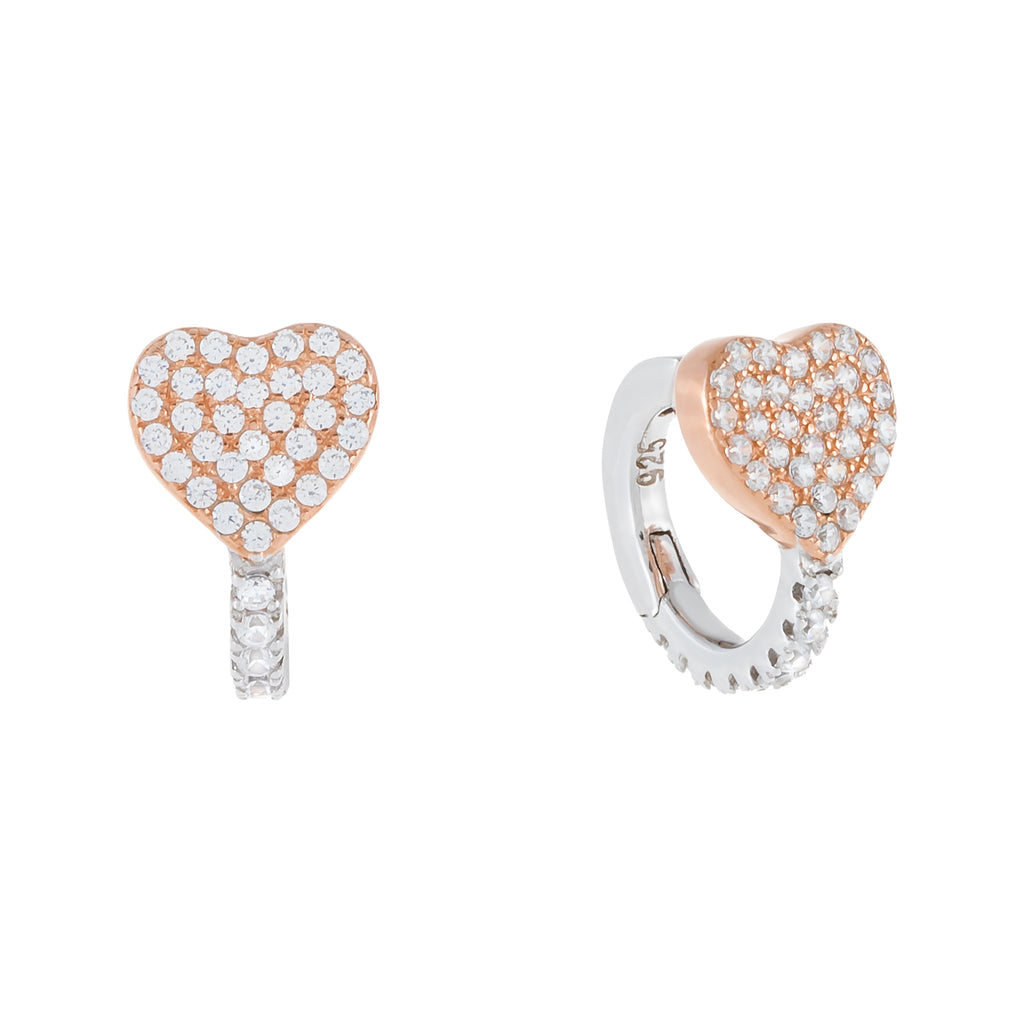 Two-Tone Heart Huggie Earring Rose Gold - Adina's Jewels
