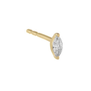 Diamond Mini Marquise Stud Earring 14K 14K Gold / Single - Adina's Jewels