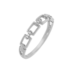 Diamond Pavé Box Link Ring 10K 14K White Gold / 7 - Adina's Jewels