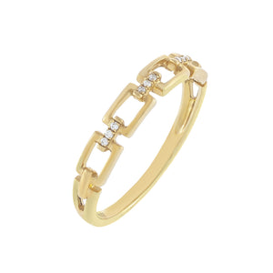 Diamond Pavé Box Link Ring 10K 14K Gold / 7 - Adina's Jewels