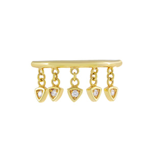 Diamond Dangling Charms Ring 10K 14K Gold / 6 - Adina's Jewels