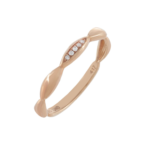 Diamond Bamboo Ring 10K 14K Rose Gold / 7 - Adina's Jewels