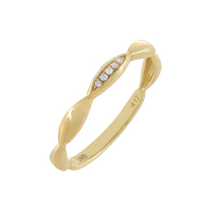 Diamond Bamboo Ring 10K - Adina's Jewels