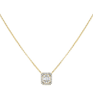 14K Gold / Small Diamond Illusion Baguette Pendant Necklace 14K - Adina's Jewels