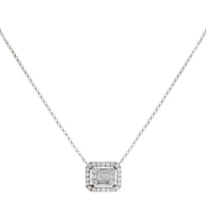 Diamond Illusion Sideways Baguette Pendant Necklace 14K 14K White Gold - Adina's Jewels