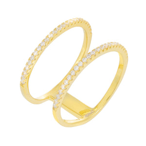 Micro Pavé Double Row Ring Gold / 8 - Adina's Jewels