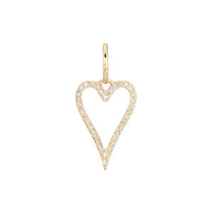 Diamond Open Heart Charm 14K 14K Gold - Adina's Jewels