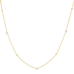 Diamond Flower X Ball Chain Necklace 14K 14K Gold - Adina's Jewels