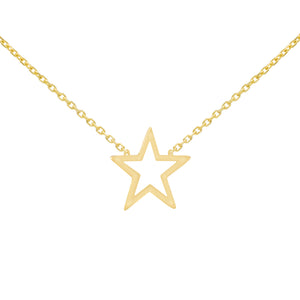14K Gold Open Star Necklace 14K - Adina's Jewels