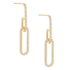 Pavé Oval Link Drop Stud Earring Gold - Adina's Jewels