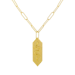 Snake Pendant Link Necklace Gold - Adina's Jewels
