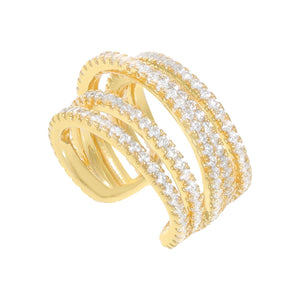 Pavé Multi Row Ear Cuff Gold - Adina's Jewels