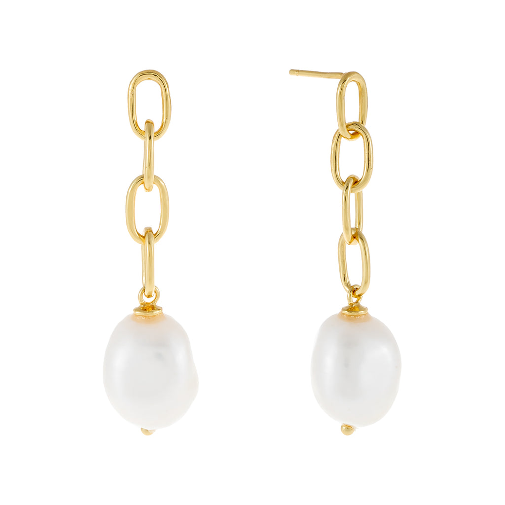 Drop Link Pearl Stud Earring Pearl White - Adina's Jewels