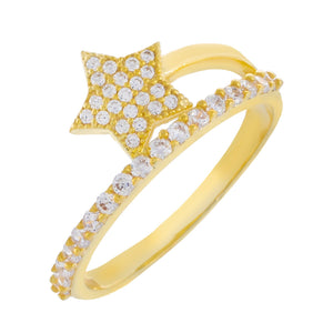 Gold / 7 Pavé Double Wrap Star Ring - Adina's Jewels