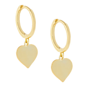Solid Heart Huggie Earring Gold - Adina's Jewels