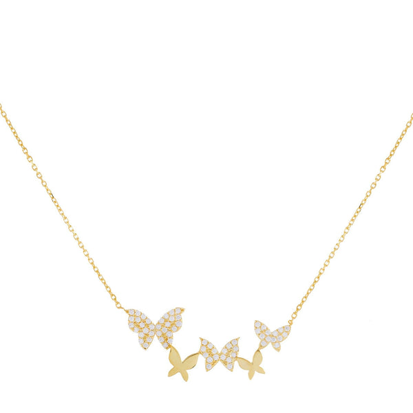 Pavé X Solid Multi Butterfly Necklace