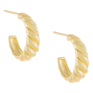 Ridged Hoop Earring Gold - Adina's Jewels