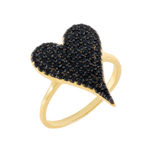 Onyx / 6 Pavé Onyx Heart Ring - Adina's Jewels