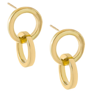 Solid Double Huggie Earring Gold - Adina's Jewels