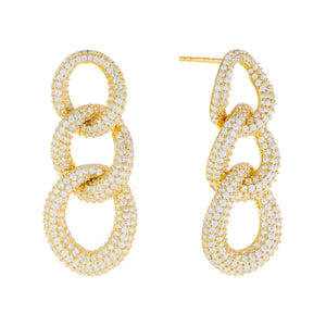 Pavé Chunky Link Drop Stud Earring Gold - Adina's Jewels