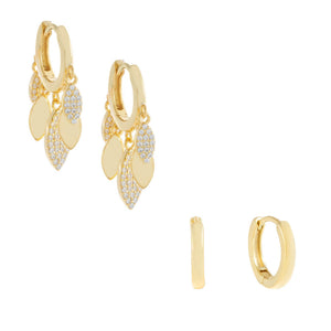 Gold Pavé X Solid Huggie Earring Combo Set - Adina's Jewels