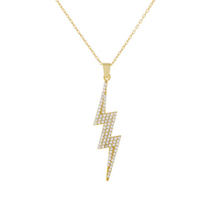 Pavé Large Lightning Bolt Necklace Gold - Adina's Jewels