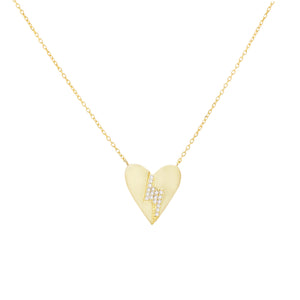 CZ Lightning X Heart Necklace Gold - Adina's Jewels