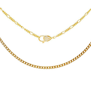 Gold Baby Clasp X Cuban Necklace Combo Set - Adina's Jewels