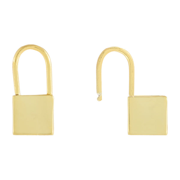 Gold / Plain Solid Lock Huggie Earring - Adina's Jewels