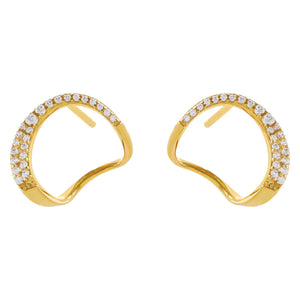 Pavé Open Circle Stud Earring Gold - Adina's Jewels