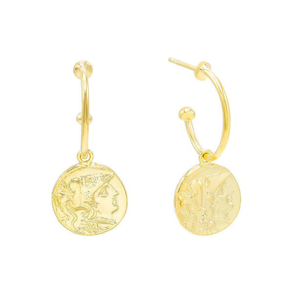 Gold / 13 MM Vintage Coin Hoop Earring - Adina's Jewels