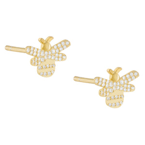 CZ Bee Stud Earring Gold - Adina's Jewels