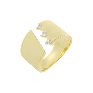 Wide Open CZ Ring Gold - Adina's Jewels