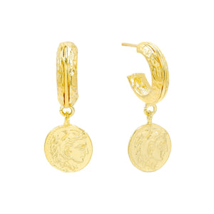 Gold Mini Vintage Coin Hoop Earring - Adina's Jewels