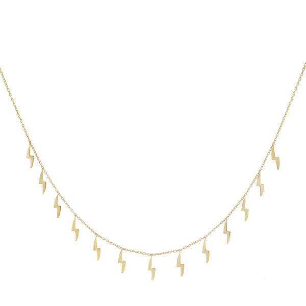 Solid Dangling Bolt Necklace Gold - Adina's Jewels