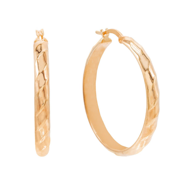 Rose Gold / 35 MM Wide Twisted Hoop Earring - Adina's Jewels