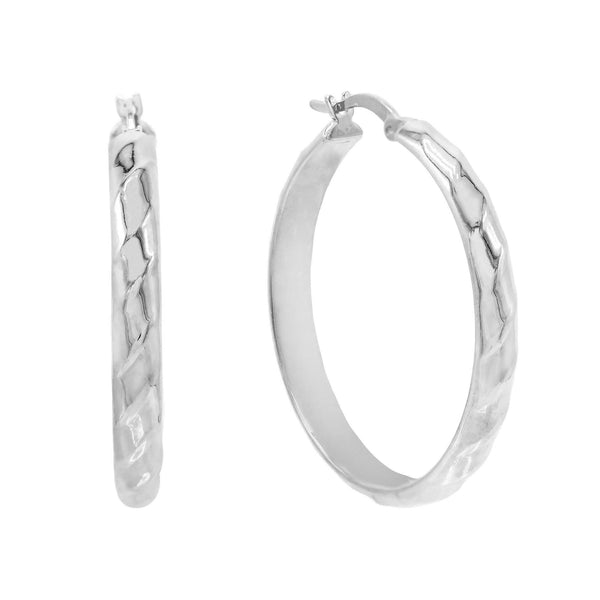 Silver / 35 MM Wide Twisted Hoop Earring - Adina's Jewels