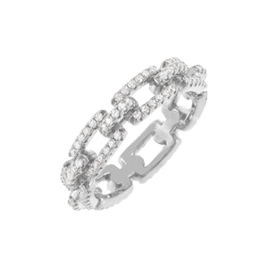 Pavé Box Link Ring Silver / 9 - Adina's Jewels
